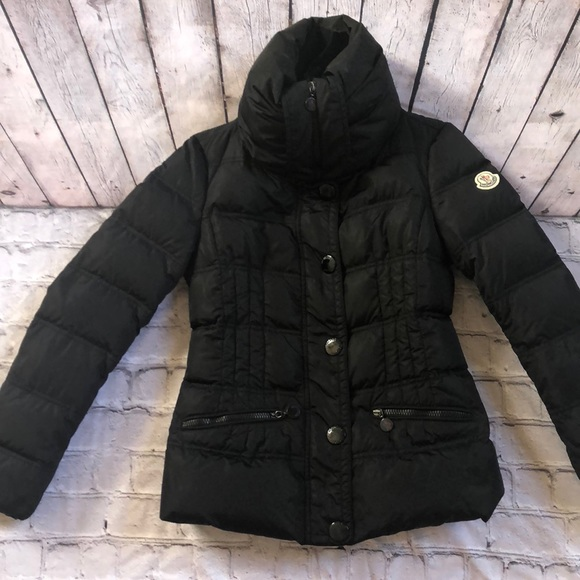 Moncler Short Black Down Puffer Coat 0 XS